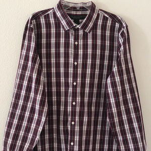 BLOOMINGDALES MENS STORE SHIRT XL RED WINE WHITE